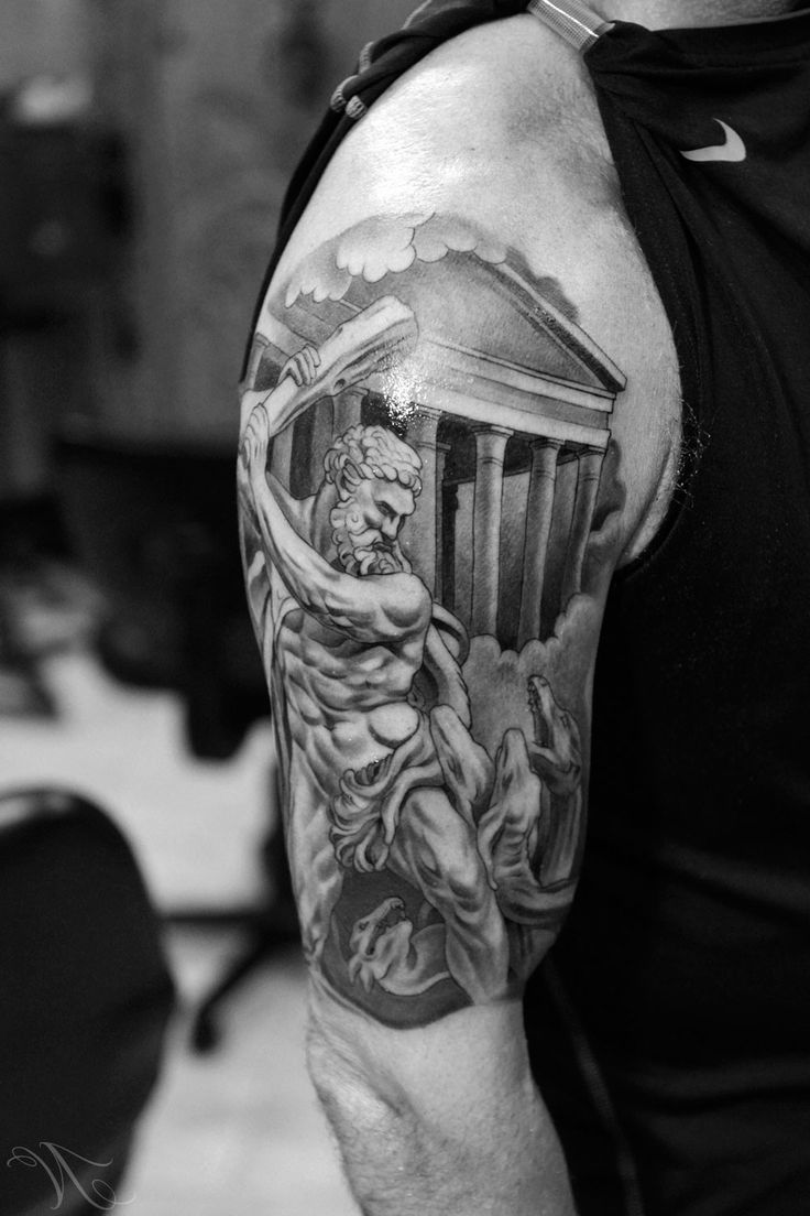 Sleeve Tattoo Of Jupiter And His Temple Greek Tattoos Mythology