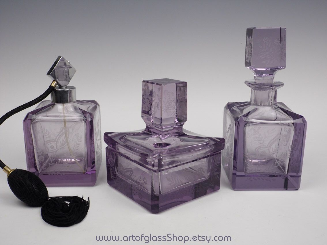 3 Piece Bohemian Glass Vanity Set By ArtofGlassShop On Etsy Https://www.