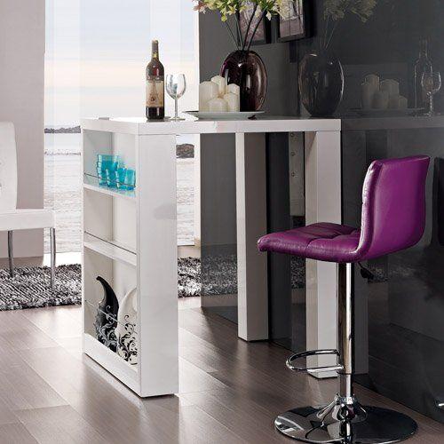 Designer Bartisch HOME, weiß Highgloss, mit seitlichem Regal - bartische für küche