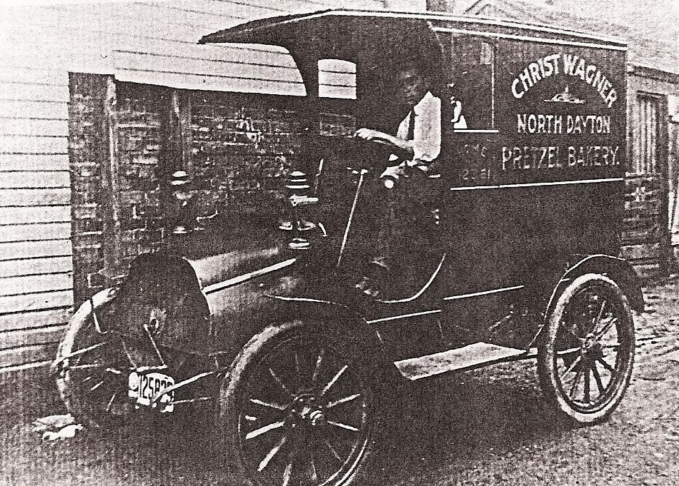 A very old photo of the Christ Wagner Pretzel Bakery truck after the business moved from Greenville, Ohio, to nearby Dayton. Click to read more about this nearly forgotten local business.