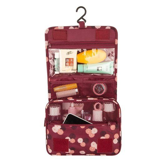e5f91345d6 Pockettrip Hanging Toiletry Kit Clear Travel BAG Cosmetic Carry Case  Toiletry (Flower in Wine Red)