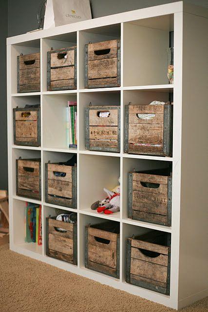 vintage crates in an ikea expedit bookshelf crate. Black Bedroom Furniture Sets. Home Design Ideas