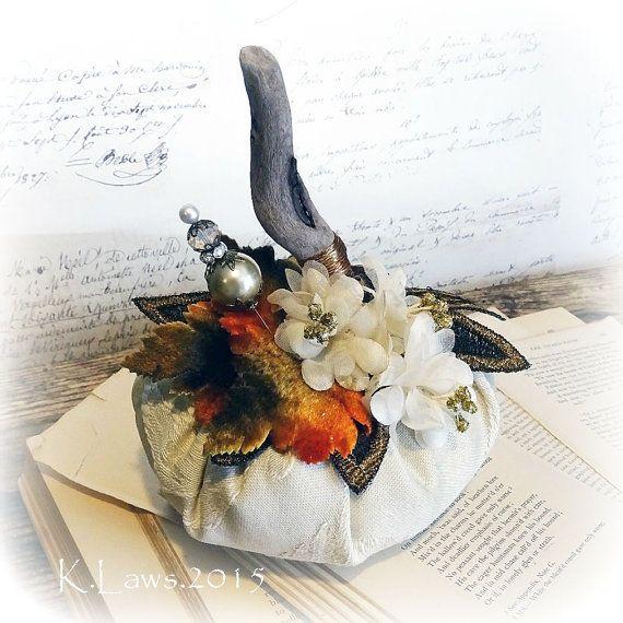 beige Autumn Blessings - handmade stuffed pumpkin - driftwood stem - NO 166
