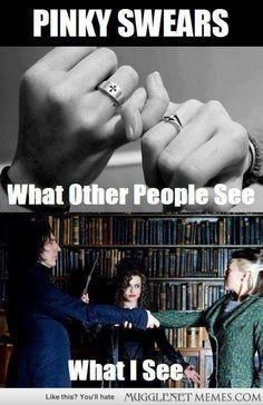 Pinky swears to wizards. - - Harry Potter Memes and Funny Pics - MuggleNet Memes YUP!!!