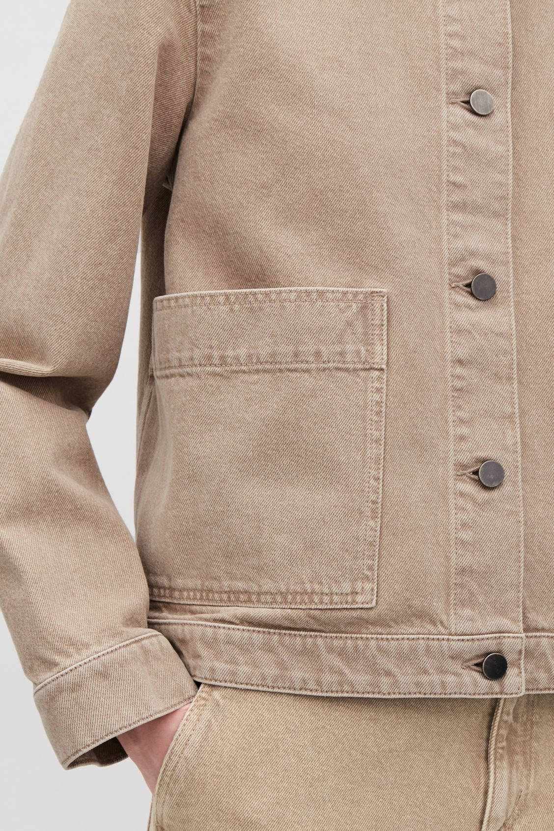 DENIM JACKET WITH PATCH POCKETS - Warm sand - Coats and