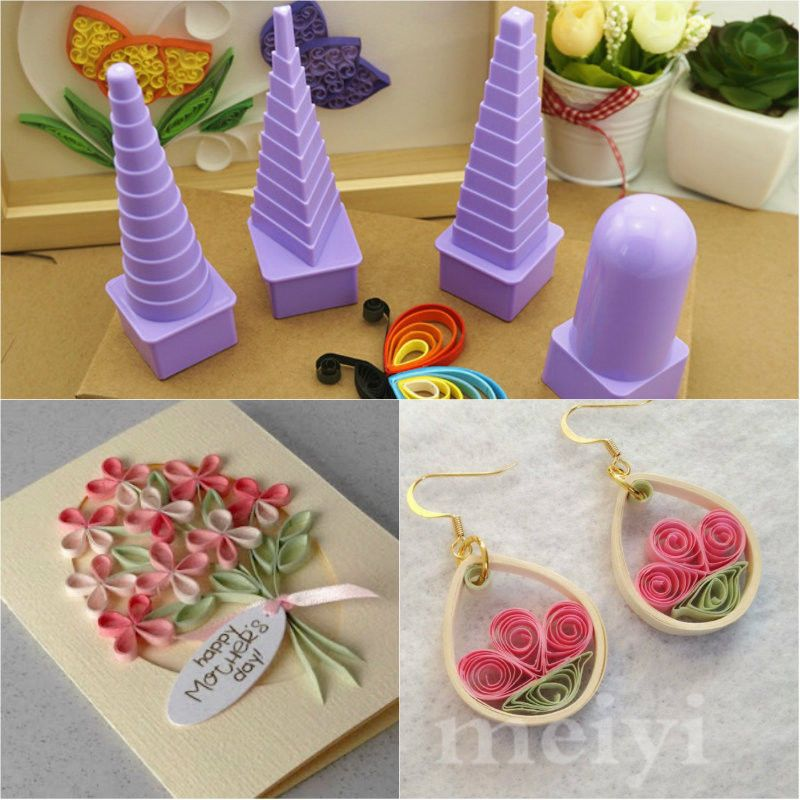 Gaetooely 5Pcs Paper Quilling Border Buddy Bobbin Tower Quilled Creation Handmade Craft DIY Tools