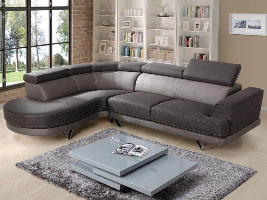 Canapé angle gauche PENZA tissu taupe clair et foncé Canapé Vente