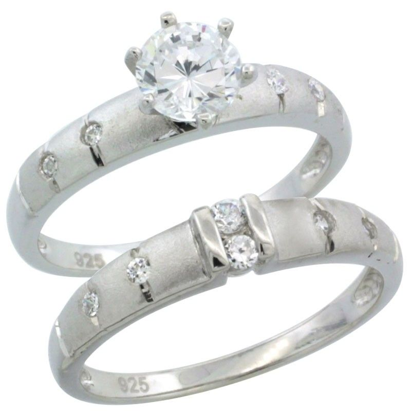 Sterling Silver 2-Piece 1 Carat Size CZ Engagement Ring Set, 1/8 in. (3.5 mm) wide #CZWeddingSet