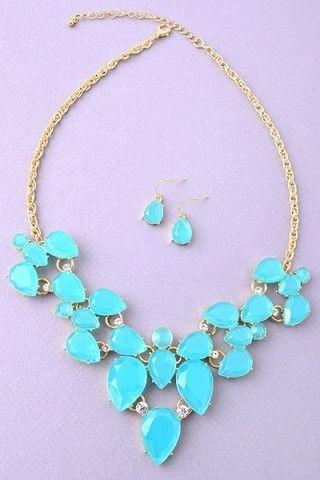 Blue Faux Gemstone Statement Necklace   UOIOnline.com: Women's Clothing Boutique