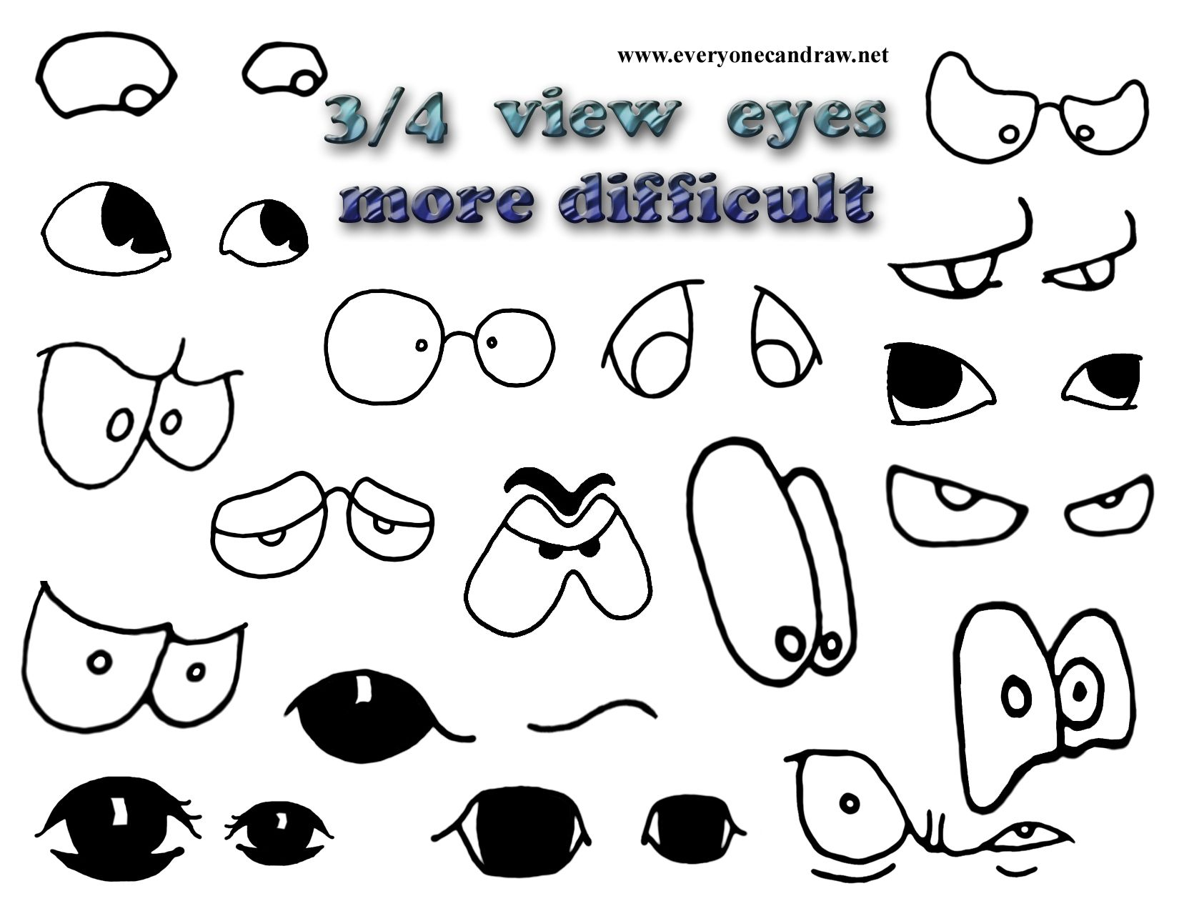 Three Quarter View Cartoon Eyes Doodle Pages Cartoon Eyes Coloring Book Pages