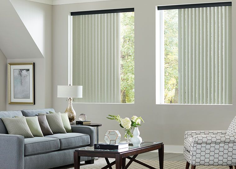 For Large Windows Verticalblinds Give You Privacy And Allow Natural Light To Shine Through Vertical Blinds Living Room Blinds Blinds For Windows #plantation #shutters #living #room
