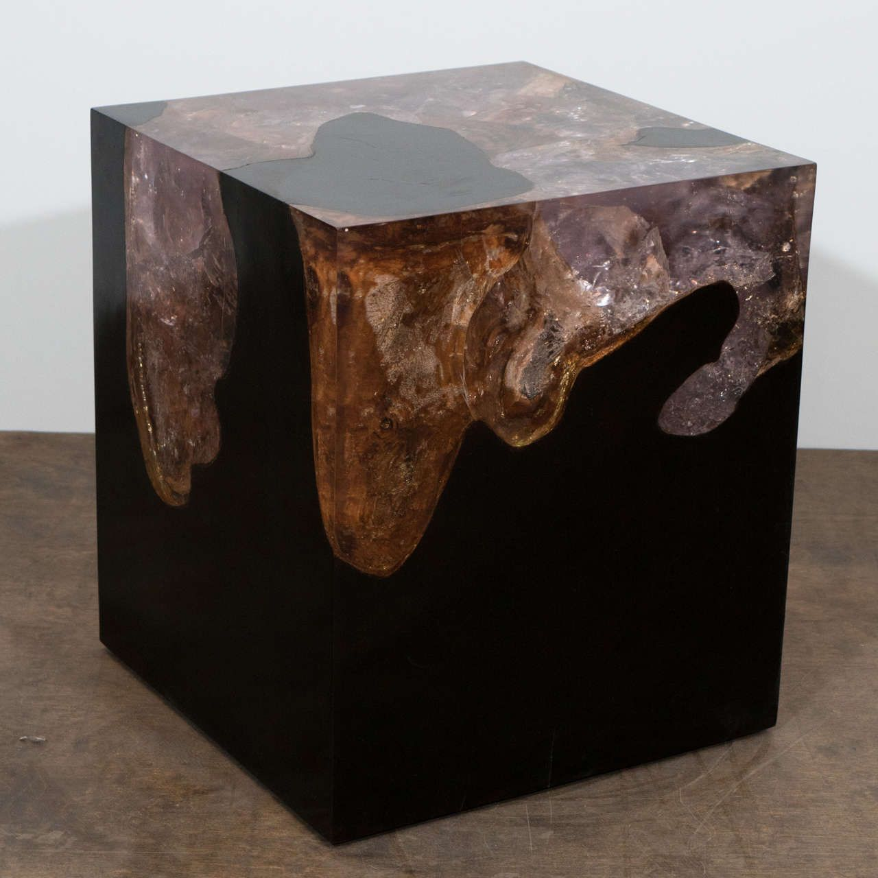 Espresso Teak Wood And Cracked Resin Side Table