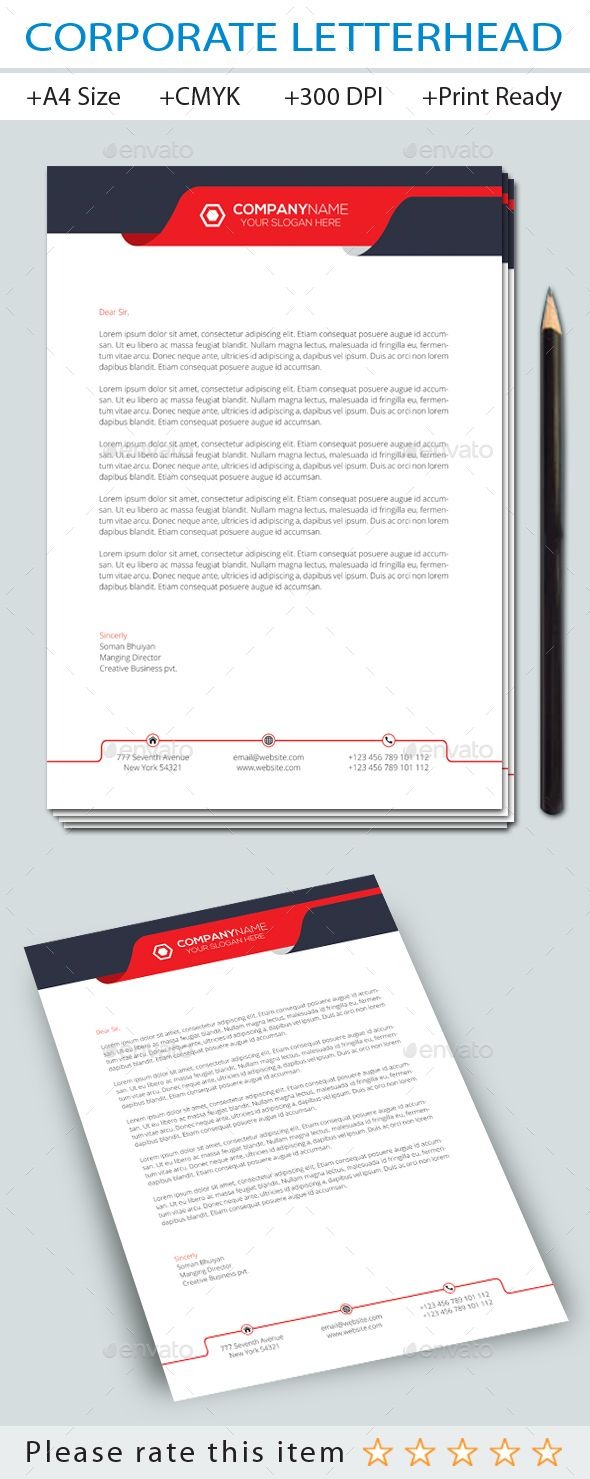 Corporate letterhead letterhead letterhead design and ai illustrator corporate business letterhead design template stationery print template vector eps ai illustrator download spiritdancerdesigns Image collections