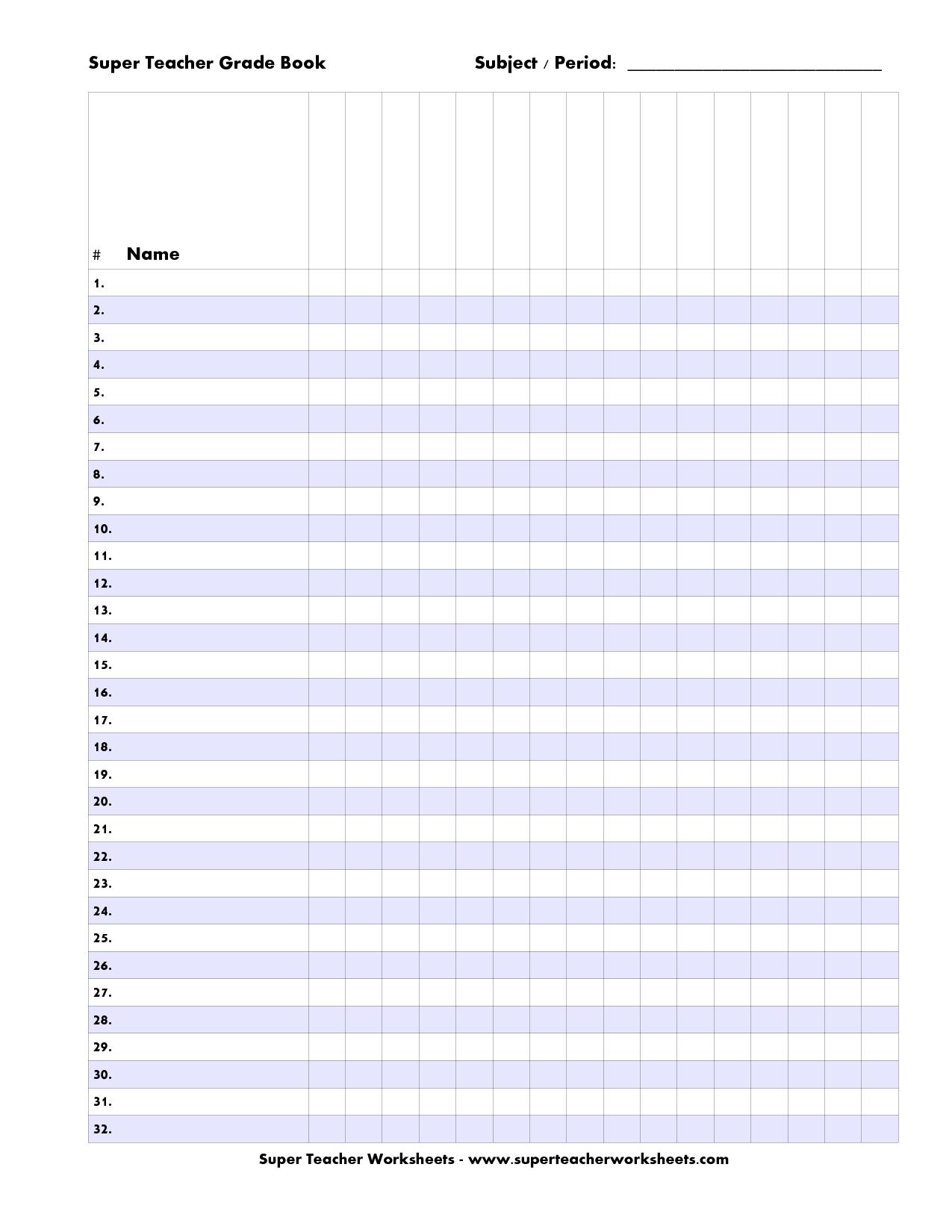 Free Printable Teacher Grade Book Sheets