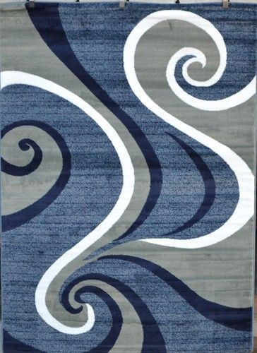 Navy Blue Pea Green White 5x7 Swirls Absract Contemporary Area Rug Carpet 0327