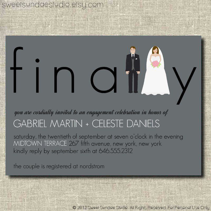 Finally Charcoal Gray Bride and Groom Modern Engagement Party Invite ...