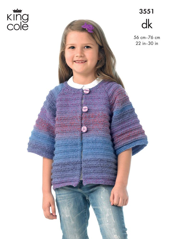 Girl\'s Jacket and Waistcoat in King Cole DK - 3551 | Tricot niños ...