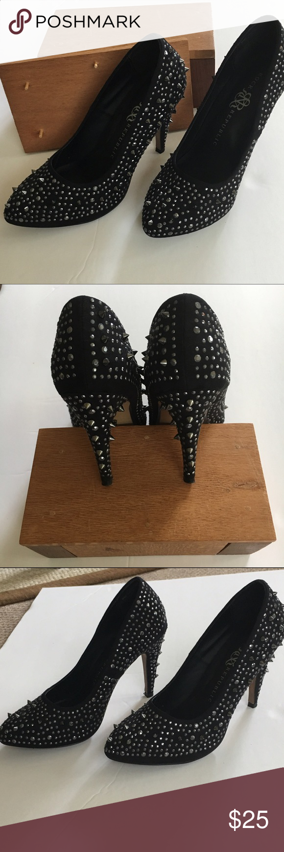 ROCK N REPUBLIC AYANA BLACK STUDDED PUMPS  ROCK AND REPUBLIC AYANA BLACK STUDDED PUMPS . Classic yet fiercely wonderful. Size 7.5 Heel Height 4 inches  Preloved  by me in excellent condition. Worn 3 times  Rock & Republic Shoes Heels