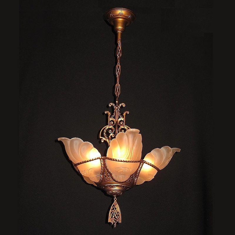 Vintage Art Deco Slip Shade Chandelier Vintagelights Com