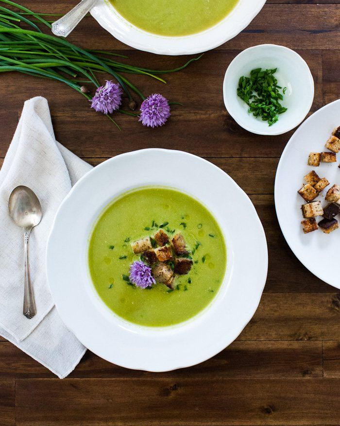 Pea Soup with Rye Croutons and Chive Blossoms - acouplecooks.com