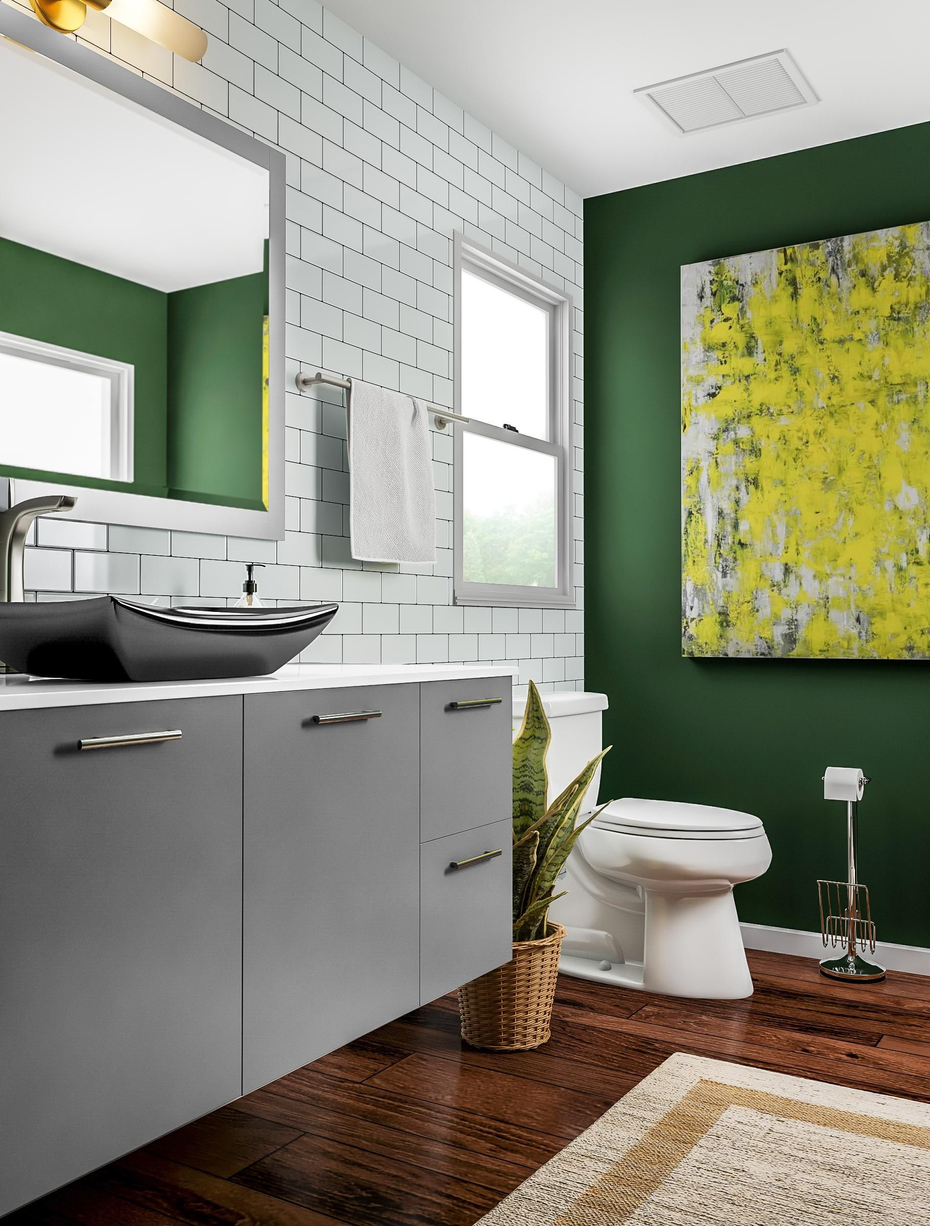 Add A Dash Of Luck To Your Renovation With A Shamrock Green Accent Wall This Bathroom Stays Stately Wi Green Bathroom Colors Green Bathroom Green Accent Walls
