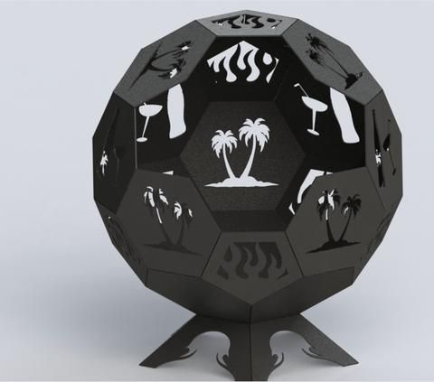 Fire Pit Hexagon Ball of Awesomeness 36in - Connected Pieces (For Bending)  - DXF File - Fire Pit Hexagon Ball Of Awesomeness 36in - Connected Pieces (For