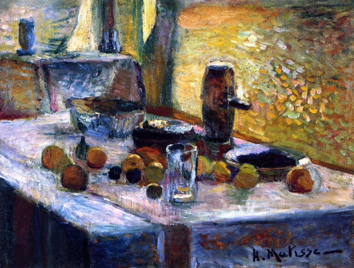 Henri Matisse | 1899 |  First Orange Still LIfe | Oil on canvas | Height: 56 cm (22.05 in.), Width: 73 cm (28.74 in.) | Musée National d'Art Moderne de Paris