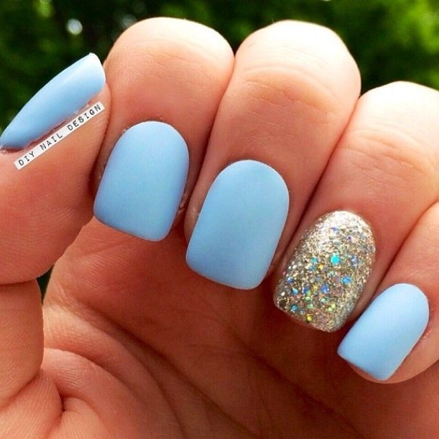 Matte blue nails with glitter accent - 25 Cute Matte Nail Designs You Will Love Salons, Make Up And
