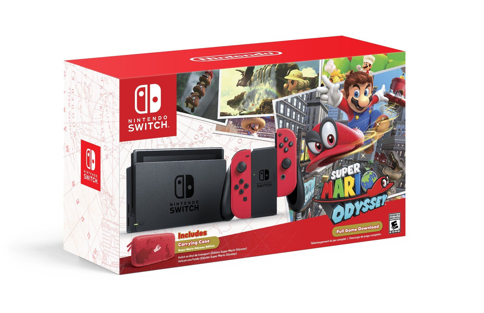 Super Mario Odyssey Gets A Nintendo Switch Bundle With Red Joy Cons Splatoon2 Hard Case Ink X Squid Hori Carrying