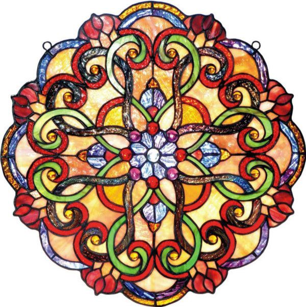 Art Nouveau & Tiffany style stained glass kaleidoscope round window panel.