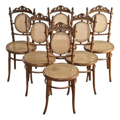 Antique Fischel Bentwood And Caned Tchecoslov Bistro Dining Chairs