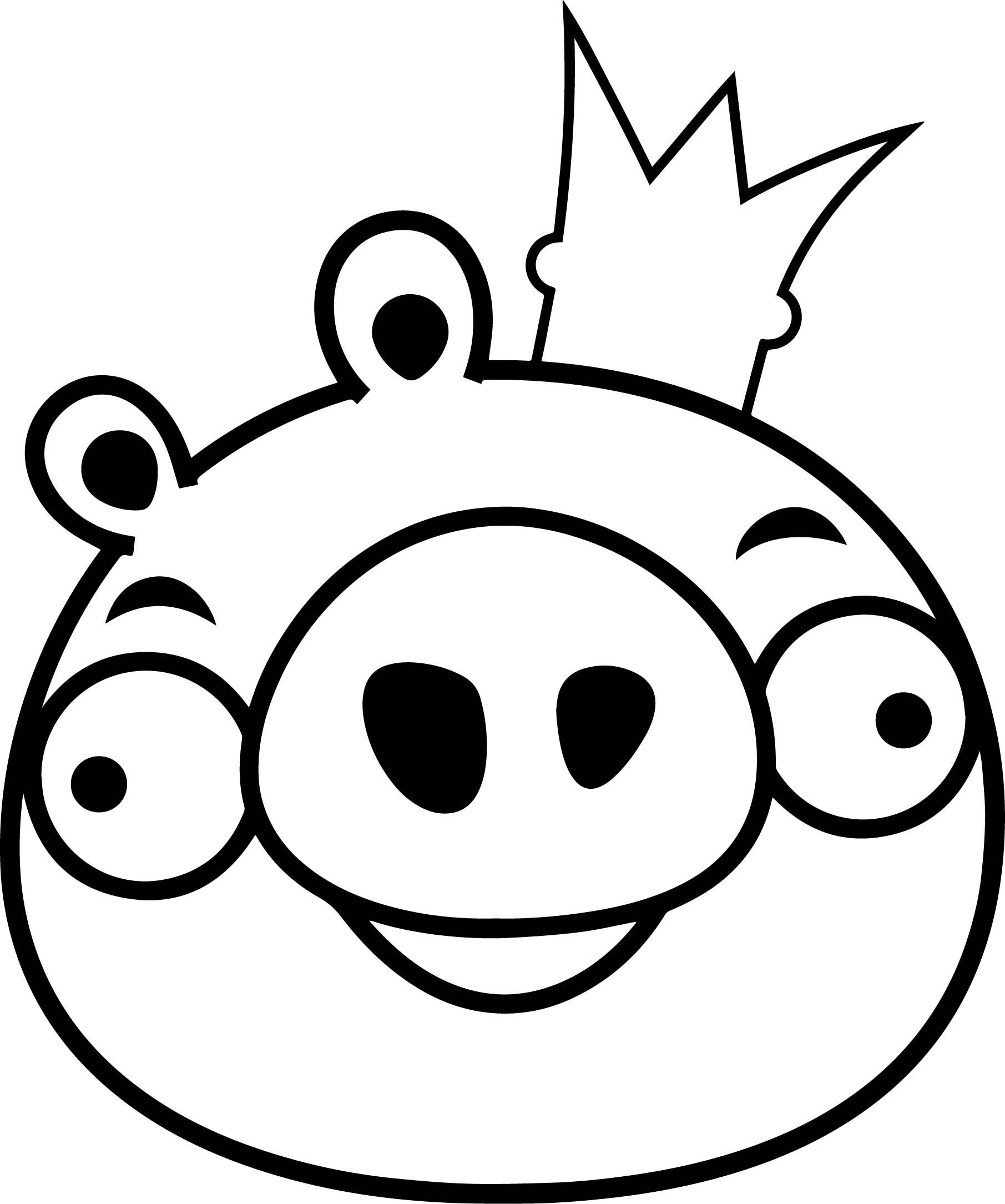 Cool Angry Bird King Pig Coloring Page
