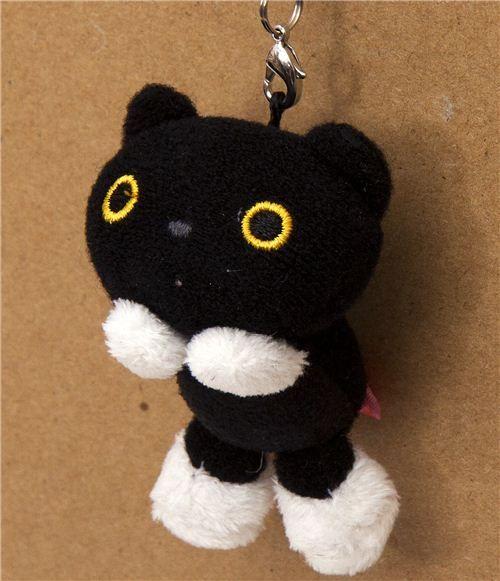 Kutusita Nyanko black cat plush cellphone charm
