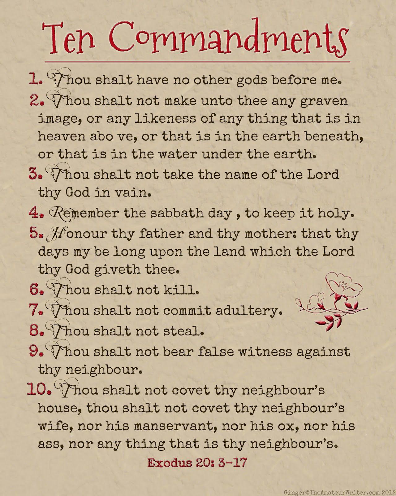The Amateur Writer Ten Commandments Printable