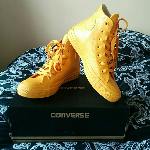 8bce746ed3c Unique yellow rubber Converse hightops! Size 5 Converse! High tops! Yellow!  Amazing! Never worn