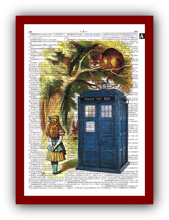 Alice in Wonderland /& Tardis Booth Dictionary Art Print Picture Butterflies Gift