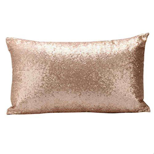 Feitong New Home Decor Solid Color Glitter Sequins Pillow Case Cafe Cushion Cover Gold 1