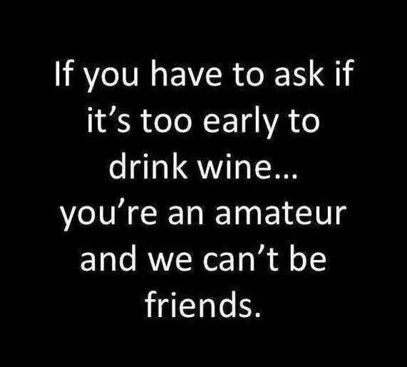 If you have to ask if it's too early to drink wine...