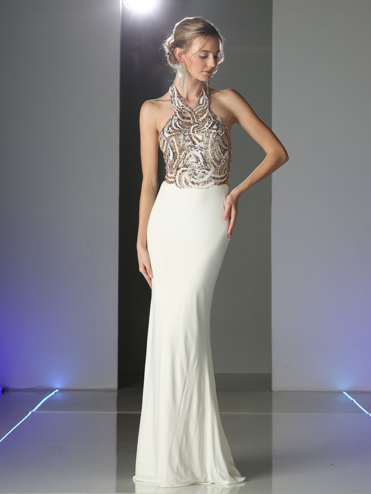 194f5628a81 Sequined Halter Top Evening Dress