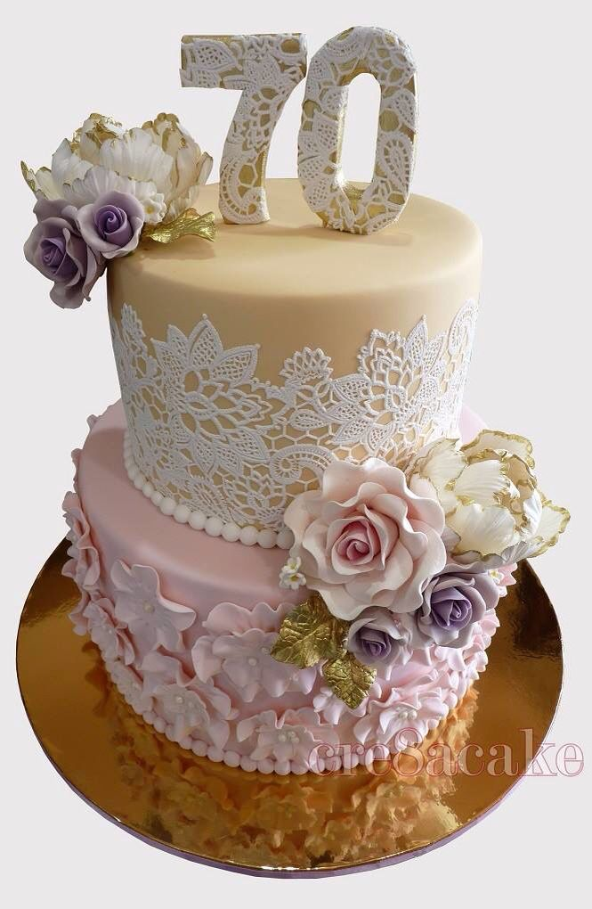 Admirable 70Th Birthday Cake Flowers Lace Gold Birthday Cake Personalised Birthday Cards Paralily Jamesorg