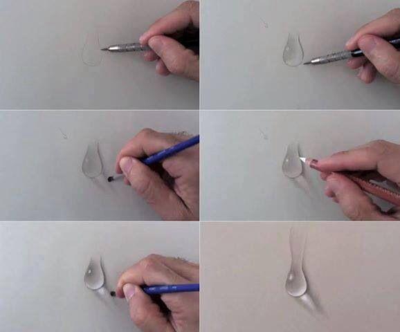 Draw A Drop Of Water Lecciones De Arte Pinturas A Lapiz Luz Y Sombra Dibujo