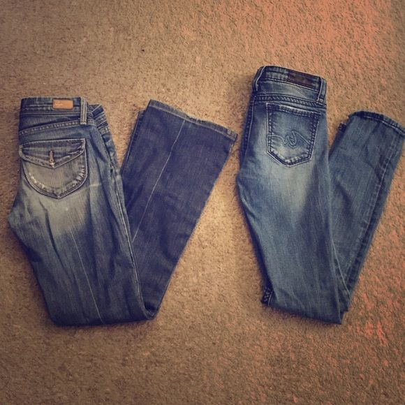 Jeans Bundle 2 pairs of size 25 jeans. (1) Paige (high end) (petite) bootcut jeans. Fold-over back pockets. Distressed. (2) Anonome skinny jeans. Slightly distressed. Both have been worn, but are in great condition. The Paige denim are more worn-in, but they have a distressed look anyway. Paige Jeans Jeans
