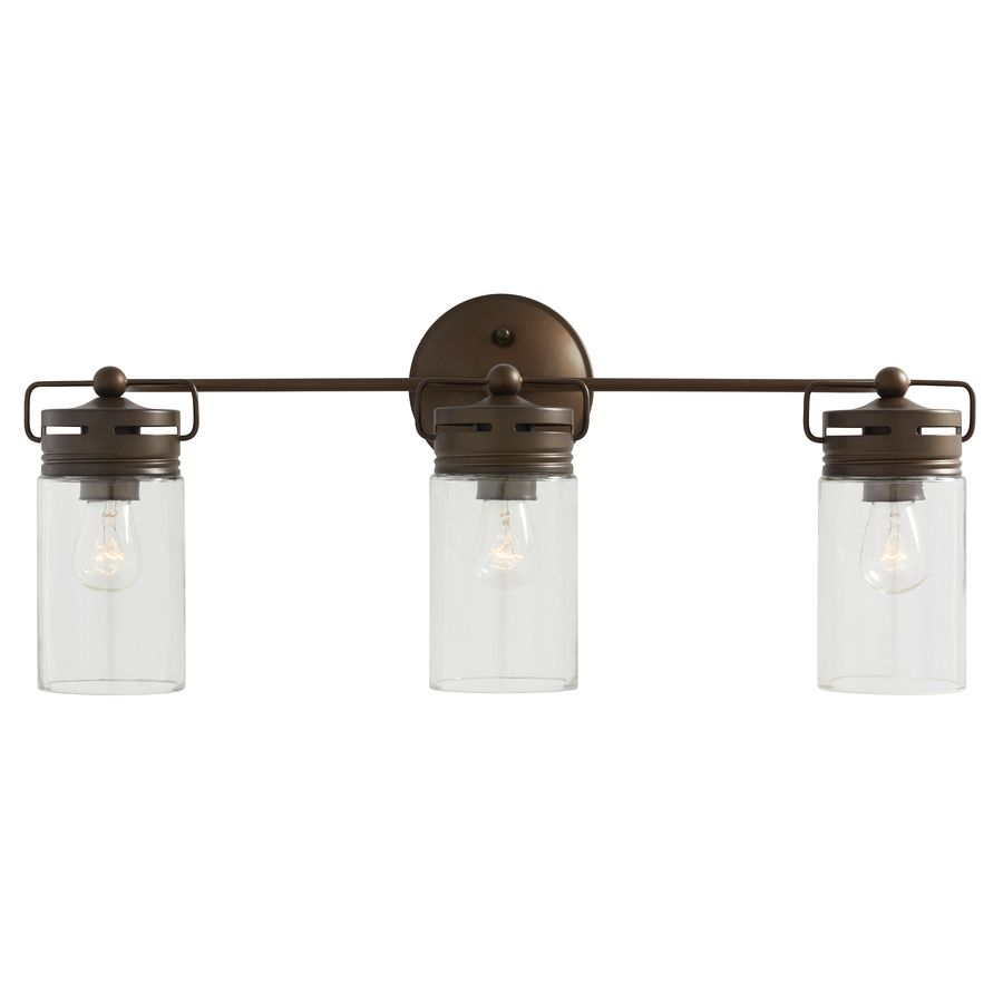 lowes light fixtures bathroom shop allen roth 3 light vallymede aged bronze bathroom 19356