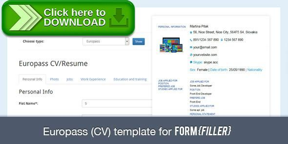Free Nulled Europass Cv Template For Formfiller Download  Form