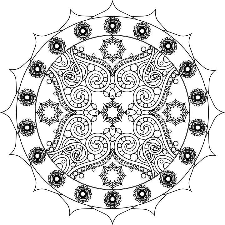 Free complex flower, Queen mandala | Mandala, Coloring ...