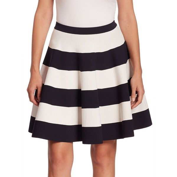 Akris punto Women's Striped Circle Skirt ($730) ❤ liked on Polyvore featuring skirts, apparel & accessories, striped skater skirt, stripe skirts, striped skirt, flared skirt and skater skirt