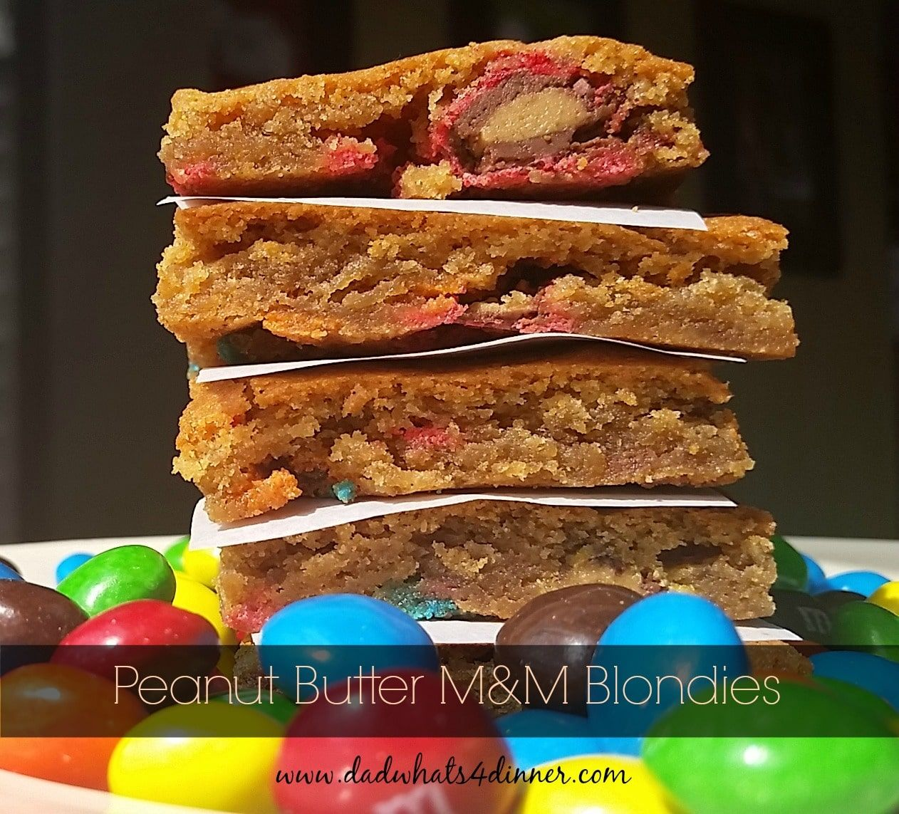 Peanut Butter M and M Blondies take the wonderful little candy to a whole new level. Quick, easy and fun to eat. | www.dadwhats4dinner.com via @dadwhats4dinner