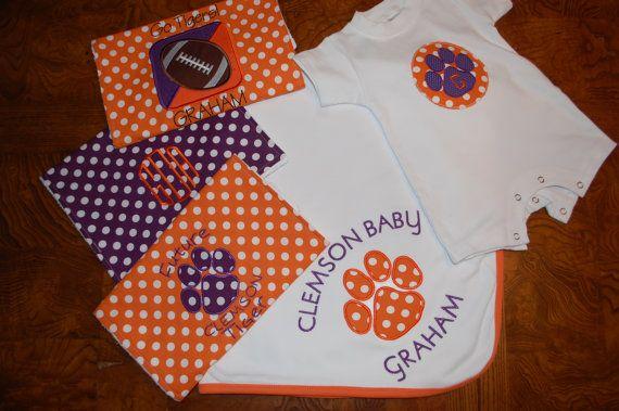 Clemson Tiger baby gift set by ThatsSewSassybySusan on Etsy, $63.00