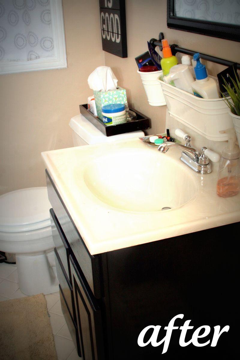 IKEA condiment and utensil caddies as bathroom storage. Embracing ...