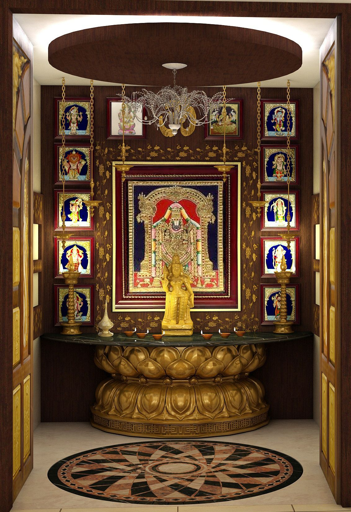 9 Traditional Pooja Room Door Designs In 2020: Customized Pooja Mandir By Mantragoldcoatings .From